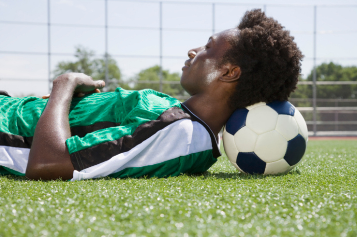 sleeping soccer player